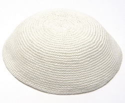 Large white Knit Kippot